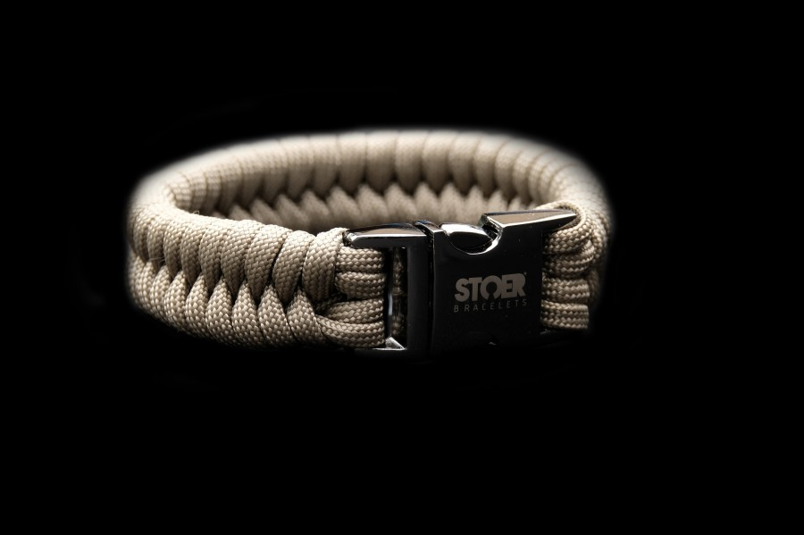 Paracord black 20mm  taupe fishtail