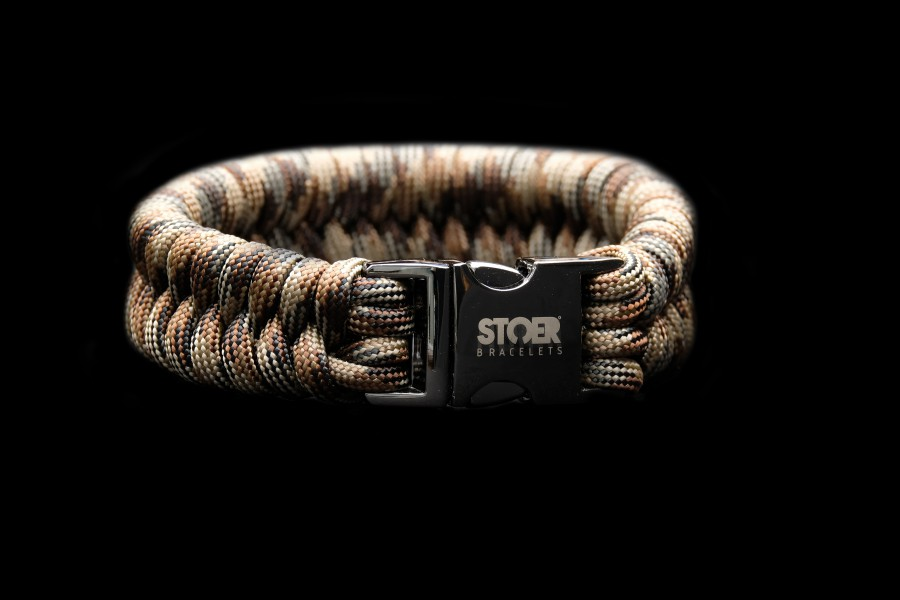Paracord black 20mm camo brown fishtail