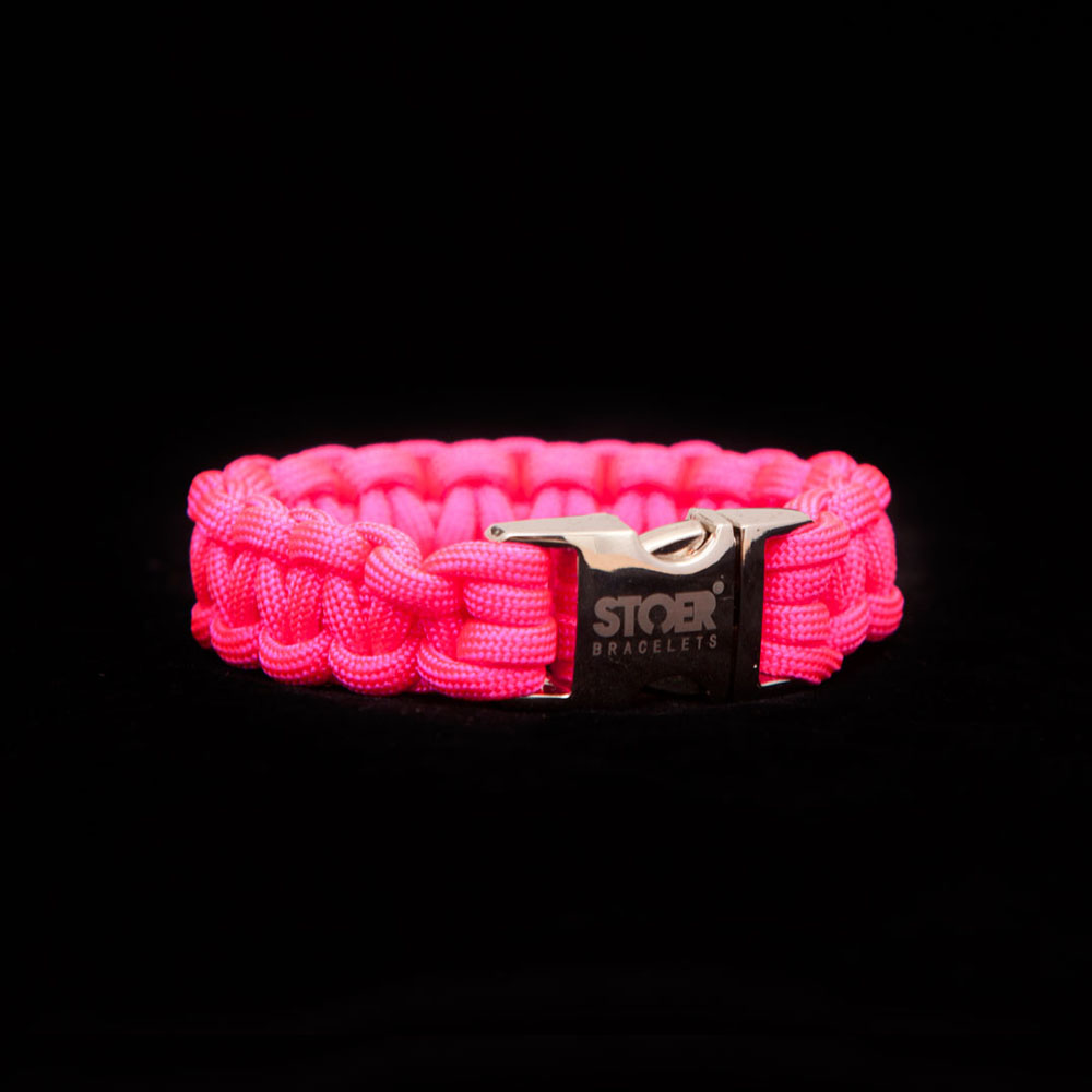 Paracord armband neon Roze 15+20mm